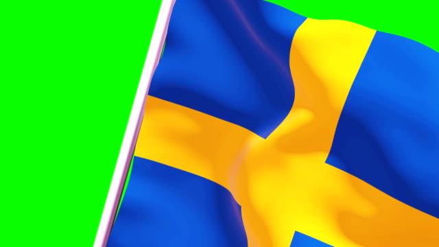 stockvideo's en b-roll-footage met veeg transition flag van zweden 4k 60 fps - democratie