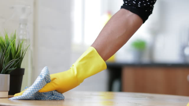 wiping the table - cleaning glove stock videos & royalty-free footage