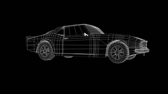 wire frame car concept blueprint - wire frame model video stock e b–roll