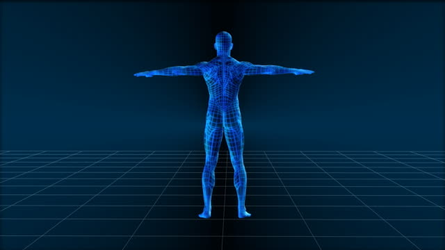 cgi, wire frame man spinning with arms outstretched - biomedical illustration stock videos & royalty-free footage