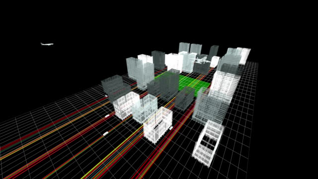 Wireframe 3d City