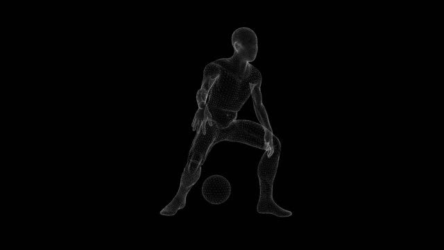wireframe animation of a man dribbling the ball on a black background - 3d animation stock videos & royalty-free footage