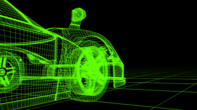 stockvideo's en b-roll-footage met (hd720) wireframe car - draadmodel