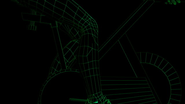 wireframe modello di fitness ciclismo - wire frame model video stock e b–roll