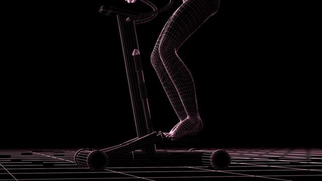 (hd1080 = gitternetzlinien fitness-model, stepper, nahtlose loop - wire frame model stock-videos und b-roll-filmmaterial