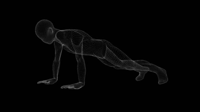 wireframe of a man doing push up on a black background - människoben bildbanksvideor och videomaterial från bakom kulisserna