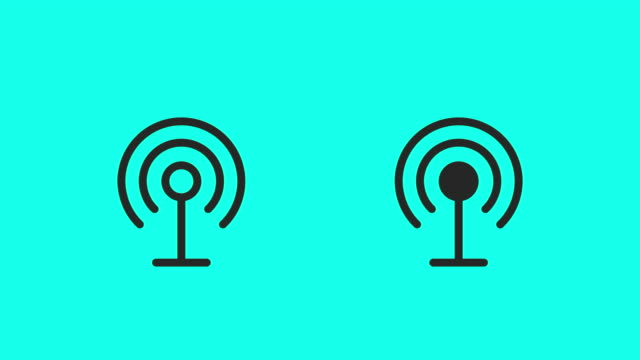wireless antenna icons - vector animate - global communications vector stock videos & royalty-free footage
