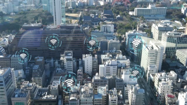 wireless technology concept to connect the work together - smart city stock videos & royalty-free footage