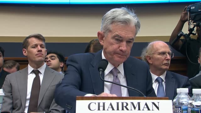 wisconsin congressman brian steil asks federal reserve chairman jerome powell at an oversight hearing of the house financial services committee about... - 中央銀行点の映像素材/bロール