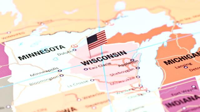 米国の州からウィスコンシン - ウィスコンシン州点の映像素材/bロール