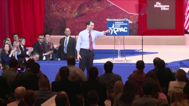 wisconsin governor scott walker officially announced monday he was joining the crowded field of republicans jostling for their party's nomination as... - us republican party 2016 presidential candidate stock videos & royalty-free footage