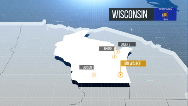 wisconsin map - wisconsin video stock e b–roll