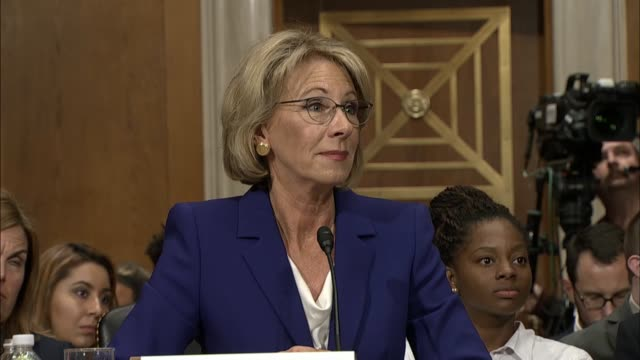 wisconsin senator tammy baldwin gets assurance from education secretary nominee betsy devos that she would take a salary of one dollar engaging her... - nomination stock videos & royalty-free footage