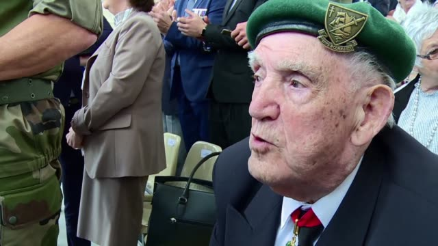 i wish my comrades could have shared this with me says kieffer commandos veteran leon gautier at the end of a ceremony in honour of his battalion... - d day stock videos and b-roll footage