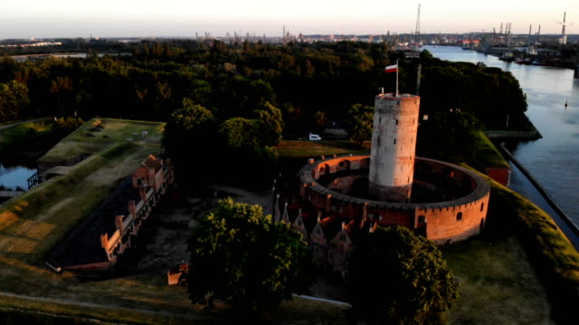 wisłoujście fortress. aerial view - fortress stock videos & royalty-free footage