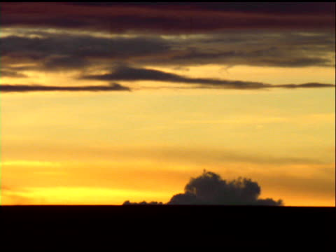 wispy and billowing dark clouds move in orange sky above silhouetted horizon, south africa - wispy stock videos and b-roll footage