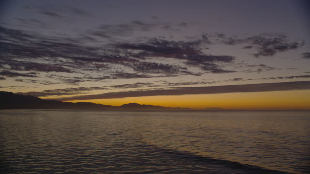 WIDE PAN wispy clouds and last glow of sunset over ocean and silhouetted mountains with some lights