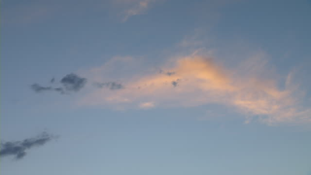 wispy clouds float in the blue sky at golden hour. - wispy stock videos & royalty-free footage