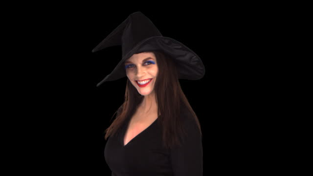 witch close-up - this clip has an embedded alpha-channel - keyable stock videos & royalty-free footage