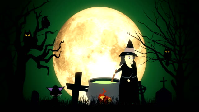 4k witch's cauldron animation - demon fictional character stock videos & royalty-free footage