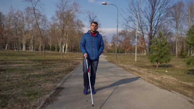 with a help of my walking cane i can go wherever i want - disability support stock videos & royalty-free footage