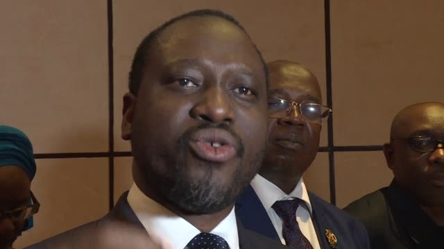 with aims at a national reconciliation president of ivory coast's national assembly and former rebellion leader guillaume soro asks ivoirians for... - forgiveness stock videos and b-roll footage