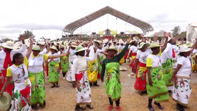 with an estimated one million people gathered at madagascar's soamandrakizay stadium for mass many catholics dance with joy at being in the presence... - catholicism stock videos & royalty-free footage
