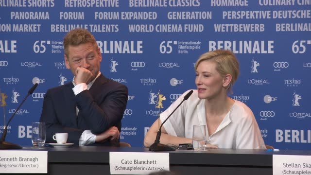 with cate blanchett on playing the bad guy, being to old to play cinderella, not funny enough for fairy godmother at 'cinderella' press conference -... - シンデレラ点の映像素材/bロール