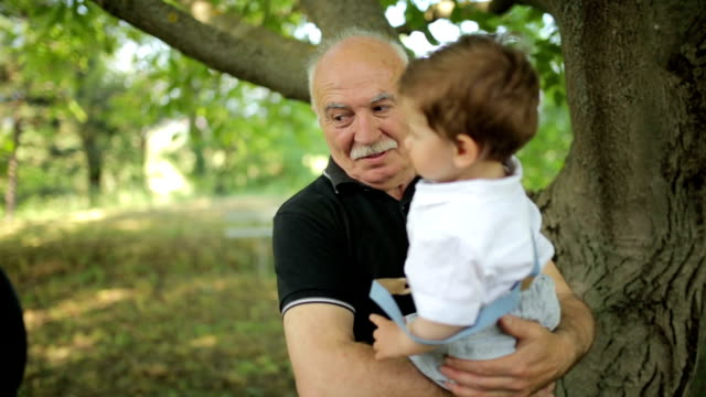 With granddad in the park