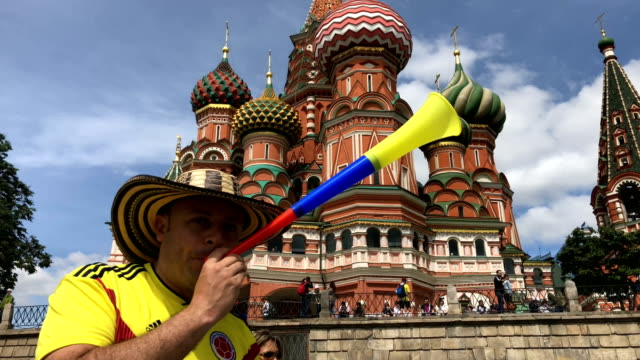 with hours to go until the first world cup game between russia and saudi arabia fans are in party mood near red square in moscow on june 14 2018 in... - fifa world cup stock videos & royalty-free footage