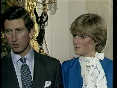 with lady diana by his side prince charles talks of his proposal to her following announcement of their engagement london 24 feb 81 - love emotion stock videos & royalty-free footage