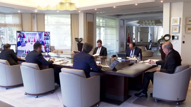 with much of the world's attention focused on the coronavirus pandemic, turkey's president recep tayyip erdogan convened a historic cabinet meeting... - social history stock videos & royalty-free footage