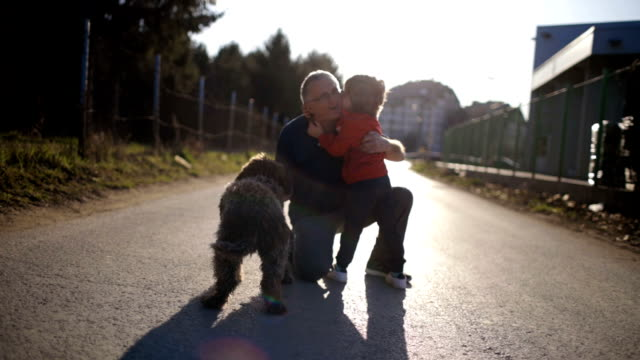 with my grandpa and our dog - grandson stock videos & royalty-free footage
