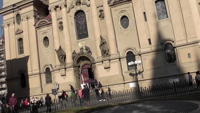 with people milling outside - st nicholas's church prague stock videos and b-roll footage