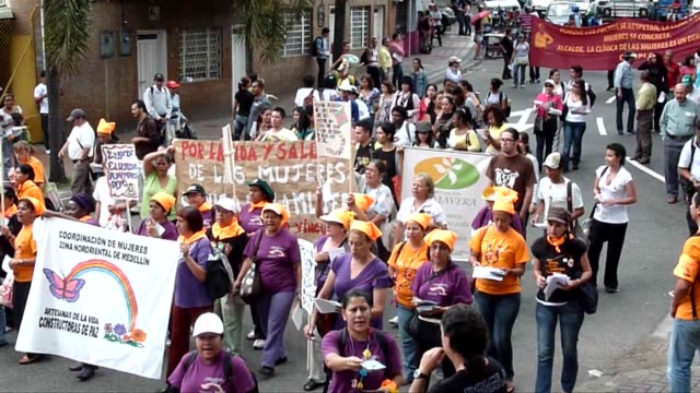 With protests and flowers slogans and songs women took to the Colombian city of Medellin in Colombia to call for gender equality and an end to...