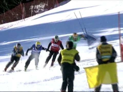 with ski cross a mixture of time trial and freestyle skiing becoming an olympic sport for the first time this year the spotlight is firmly on french... - freestyle skiing stock videos & royalty-free footage