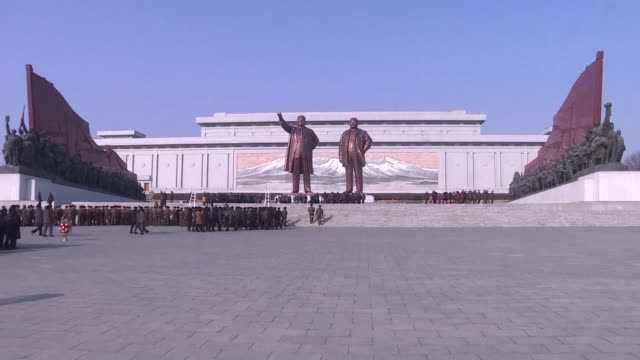 with the winter olympics in pyeongchang well under way north koreans celebrate the birth anniversary of the country's second leader kim jong il with... - südkorea stock-videos und b-roll-filmmaterial