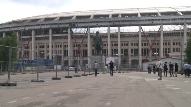 with three years to go until the 2018 world cup final is played in moscow preparations at the capital's luzhniki stadium due to host the event are... - luzhniki stadium stock videos & royalty-free footage