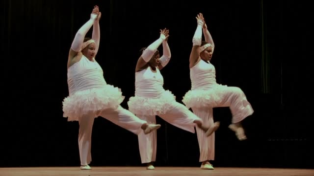 with wide waists in white tutus their figures are far from those of typical ballerinas but these extra large cuban dancers moves are elegantly... - waist stock videos & royalty-free footage