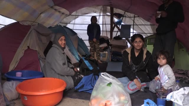with winter approaching the living conditions at the overcrowded refugee camp at chios add to the hardships migrant women face - refugee camp stock videos & royalty-free footage