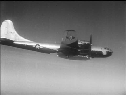 B29 with Yeager's Bell X1 airplane attached flying / California / newsreel