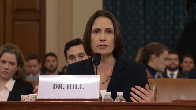witness fiona hill explains for the house select intelligence committee at its seventh public impeachment inquiry hearing of president donald trump... - bagnato bildbanksvideor och videomaterial från bakom kulisserna
