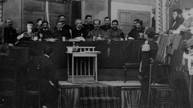 1899 b/w witness testifies at court-martial at rennes during the dreyfus affair - 19th century stock videos & royalty-free footage