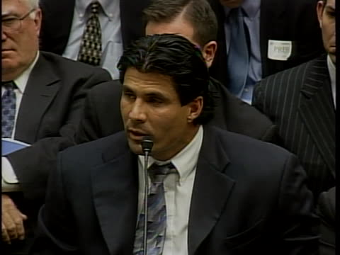 of witnesses schilling, palmeiro, mcgwire, sosa, and canseco, among others former major league baseball outfielder and designated hitter jose canseco... - rafael palmeiro stock videos & royalty-free footage