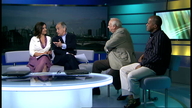 london ext roy hudd and gary wilmot live studio interview sot - roy hudd stock videos & royalty-free footage