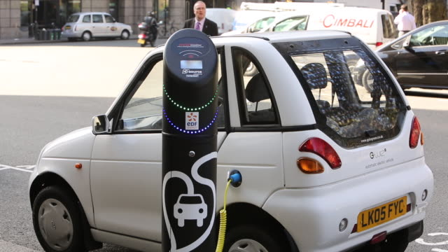 A G Wizz electric car recharging at en electric car charging point in London, UK