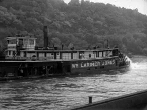 tracking 'wm larimer jones' paddle steamer moving along the mon river paddle wheels turning in water riverboat ship ferry steamship - paddle boat stock videos & royalty-free footage