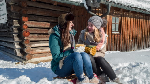 wo young women drinking hot tea in front of a log cabin in winter - 温かい飲み物点の映像素材/bロール