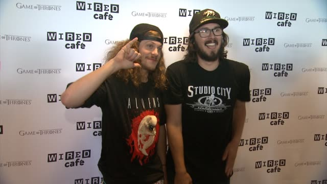 wokaholics cast - blake anderson and kyle newacheck - wired cafe @ comic-con - day 2 at omni hotel on july 26, 2014 in san diego, california. - mensch und maschine stock-videos und b-roll-filmmaterial