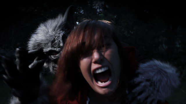 wolf and little red ridding hood - violence stock videos & royalty-free footage